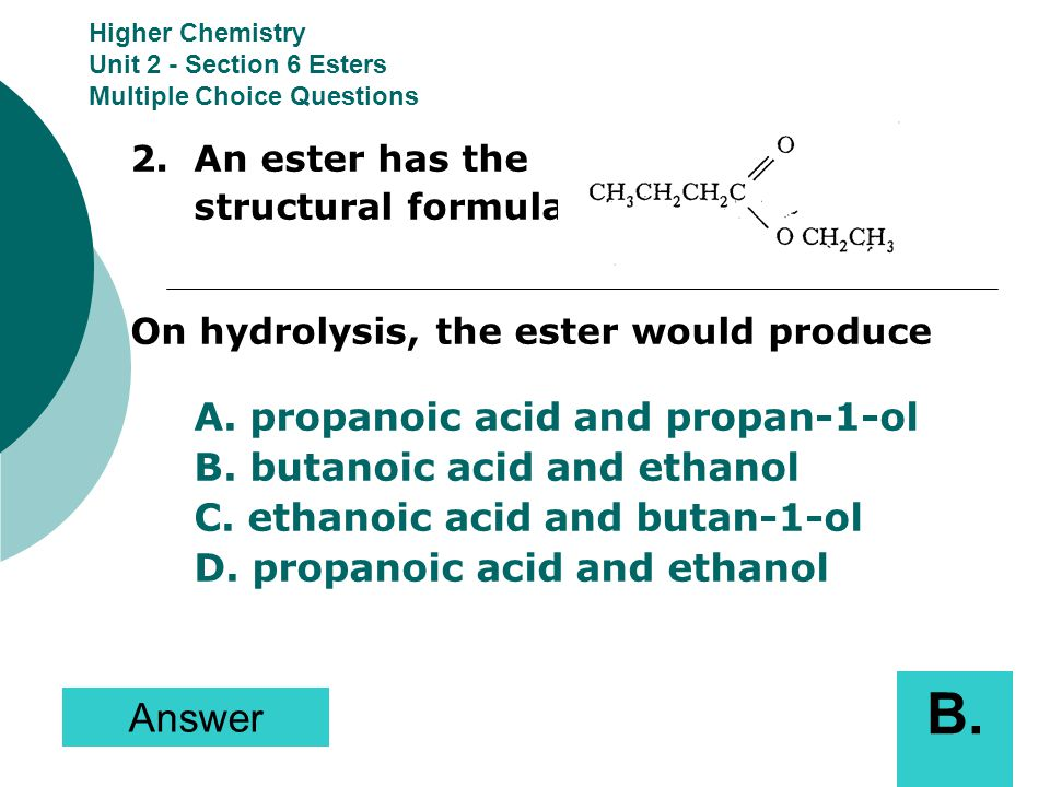 higher chemistry unit 2 multiple choice questions section