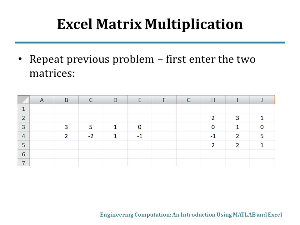 Matrix mathematics in matlab and excel ppt video online for Table 2 matrix matlab