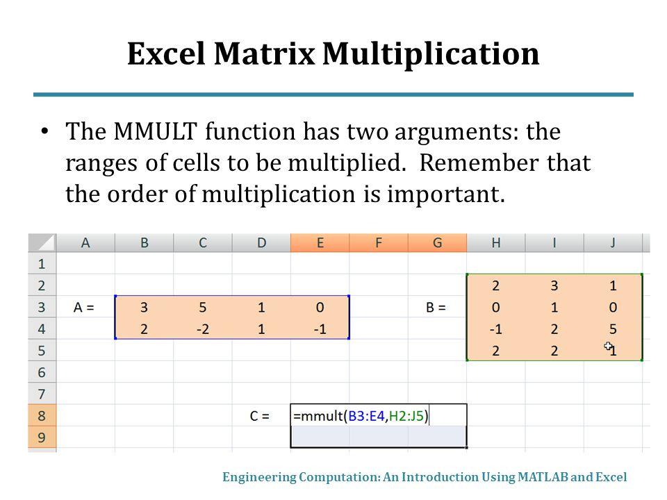 Matrix Mathematics in MATLAB and Excel