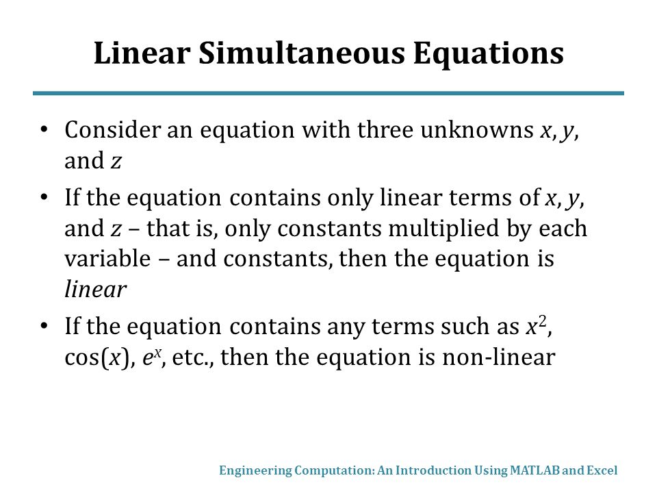 Linear Simultaneous Equations