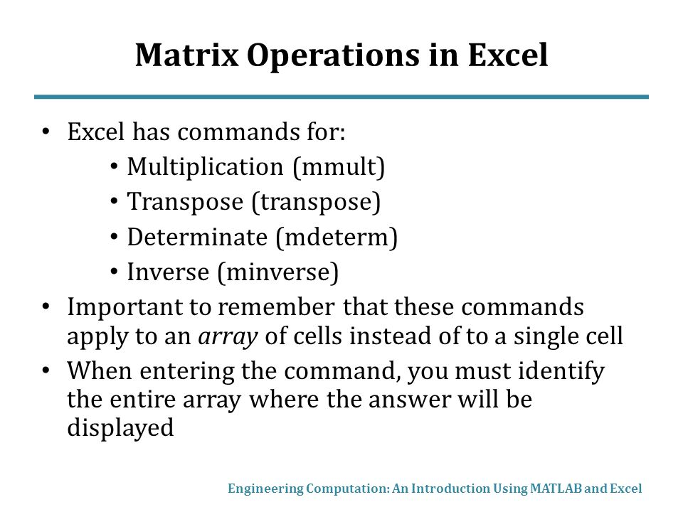 Matrix Operations in Excel