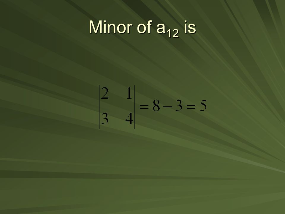 Minor of a12 is