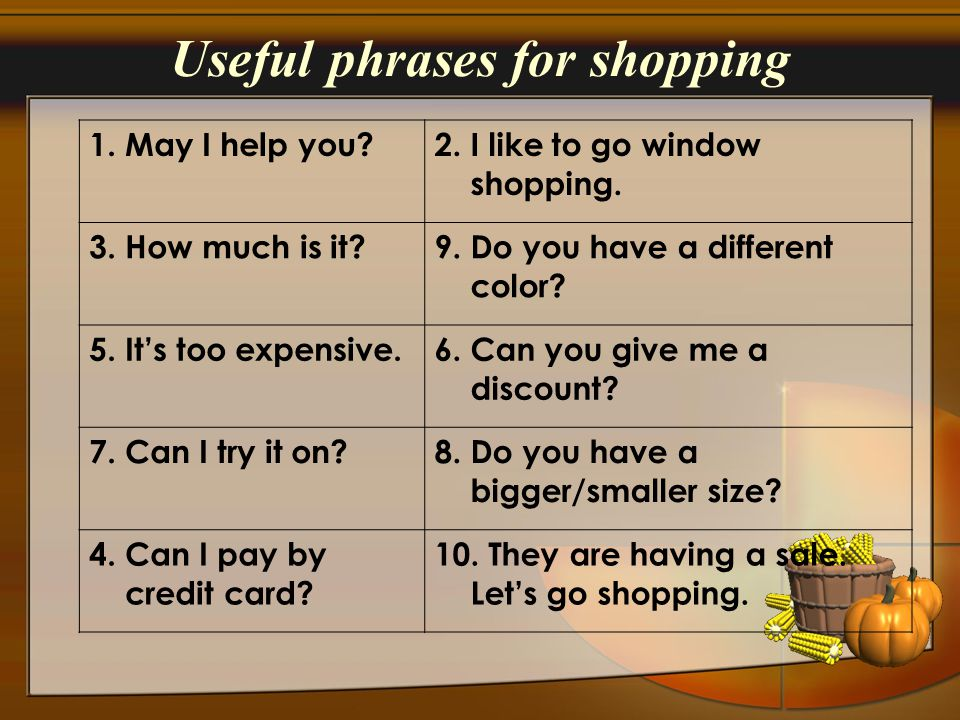 Useful phrases for shopping