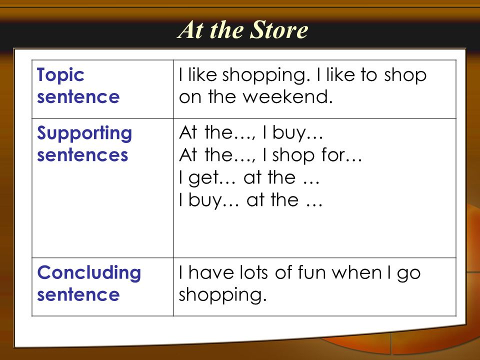 At the Store Topic sentence