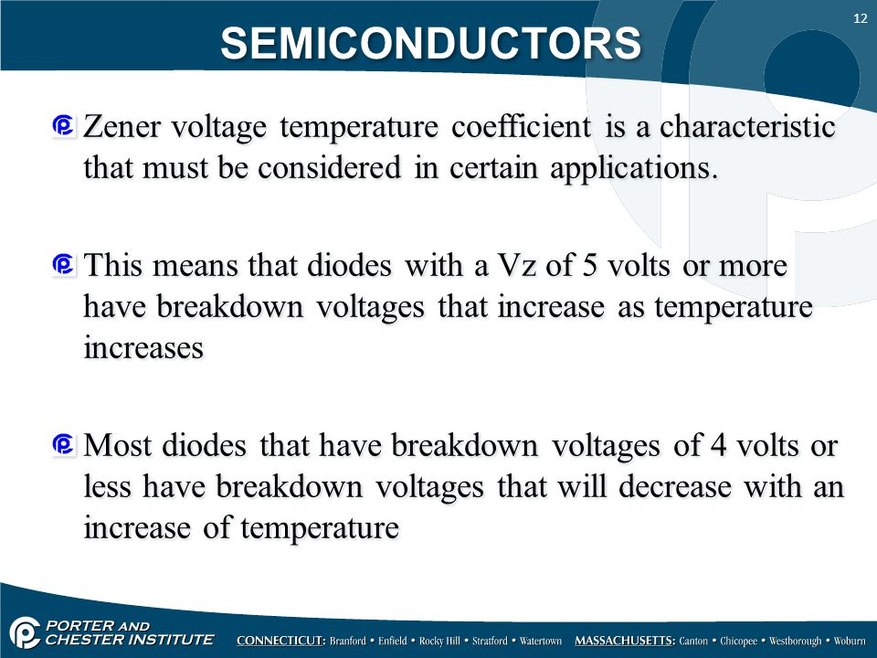 SEMICONDUCTORS Zener voltage temperature coefficient is a characteristic that must be considered in certain applications.