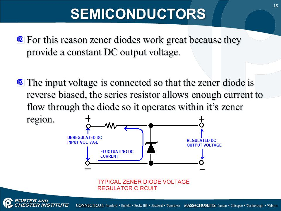 SEMICONDUCTORS For this reason zener diodes work great because they provide a constant DC output voltage.