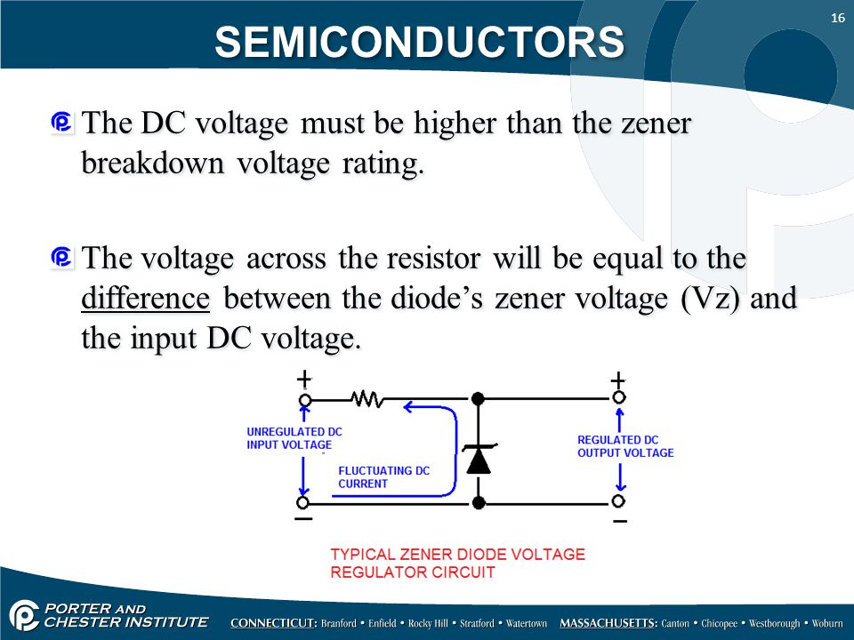 SEMICONDUCTORS The DC voltage must be higher than the zener breakdown voltage rating.