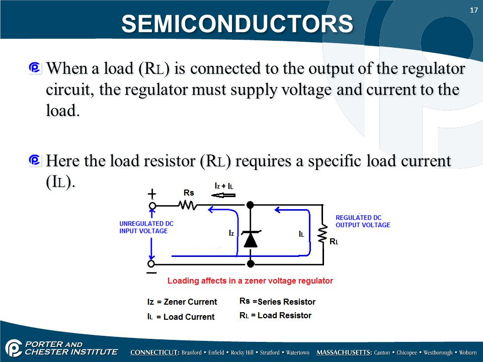 SEMICONDUCTORS When a load (RL) is connected to the output of the regulator circuit, the regulator must supply voltage and current to the load.