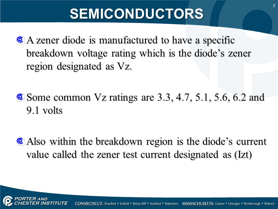 SEMICONDUCTORS A zener diode is manufactured to have a specific breakdown voltage rating which is the diode's zener region designated as Vz.