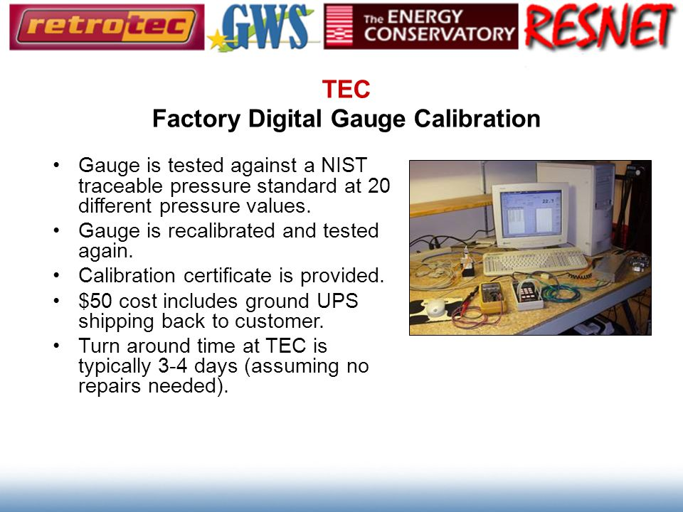 TEC Factory Digital Gauge Calibration