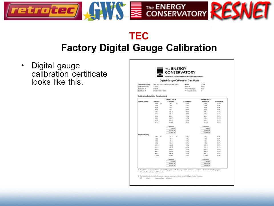 TEC Factory Digital Gauge Calibration