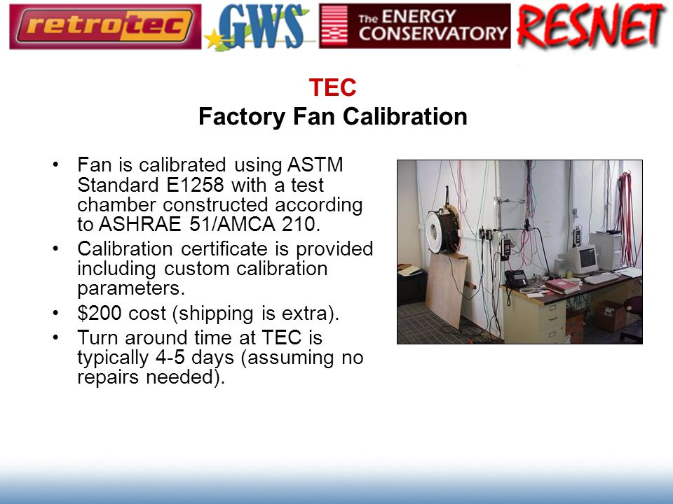 TEC Factory Fan Calibration