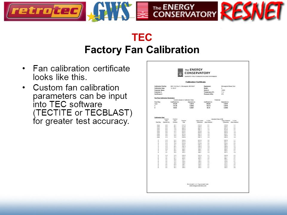 TEC Factory Fan Calibration
