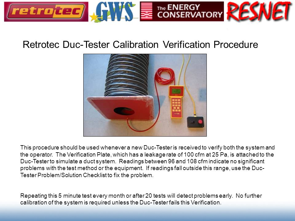 Retrotec Duc-Tester Calibration Verification Procedure