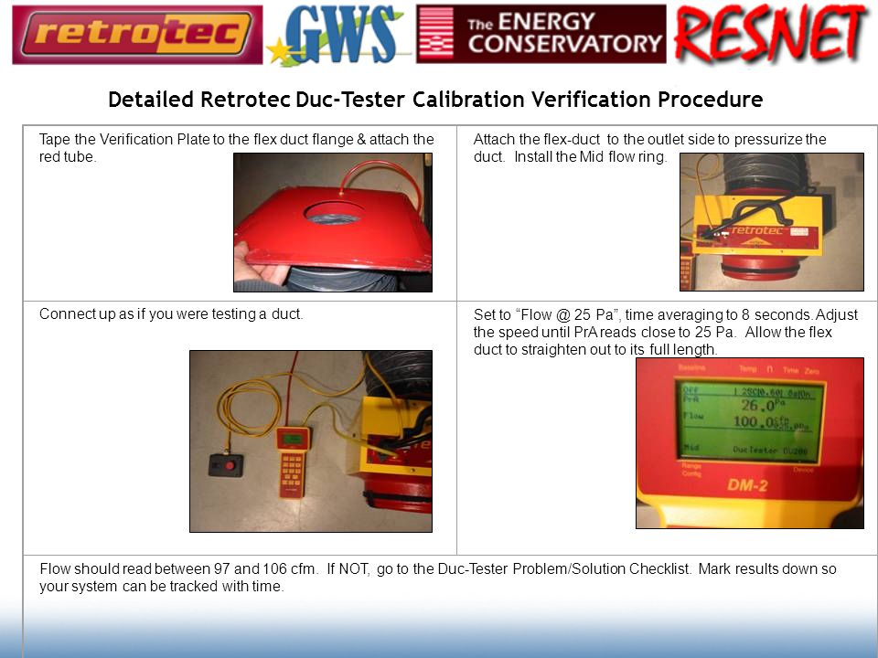 Detailed Retrotec Duc-Tester Calibration Verification Procedure