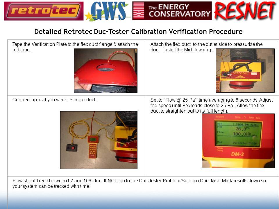 Detailed Retrotec Duc-Tester Calibration Verification Procedure