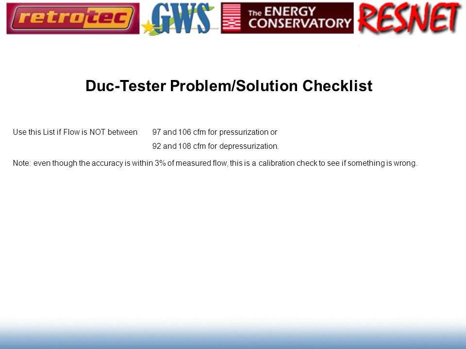 Duc-Tester Problem/Solution Checklist