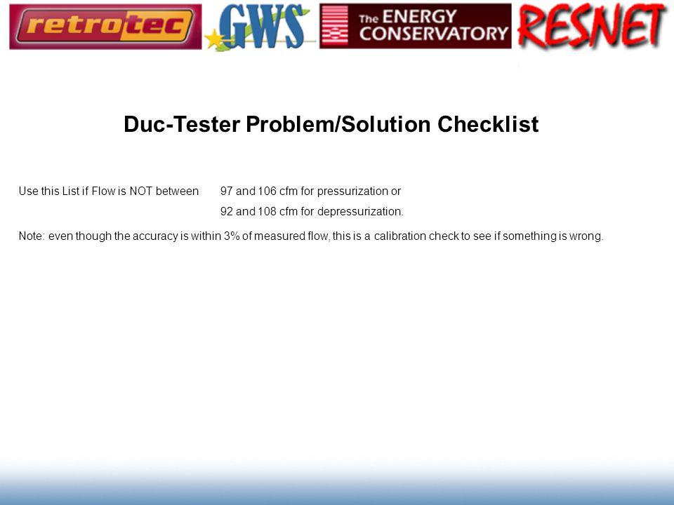 Duc-Tester Problem/Solution Checklist