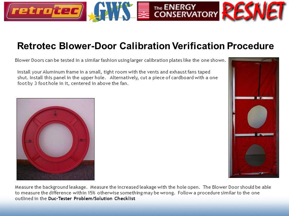 Retrotec Blower-Door Calibration Verification Procedure