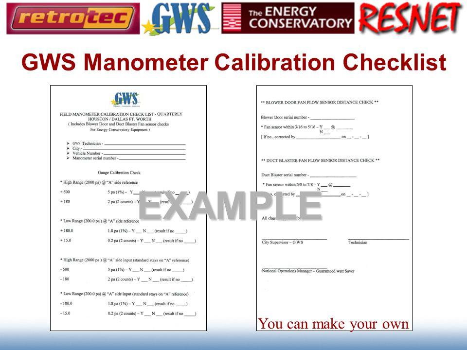 GWS Manometer Calibration Checklist