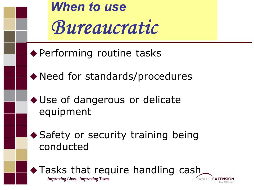 bureaucratic leadership style definition The bureaucratic style of leadership is a style of leadership that focuses on rules and procedures to manage teams and projects it is a style that is diffused among.