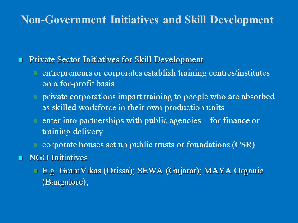 Skill Formation in the Unorganised / Informal Sector in ...