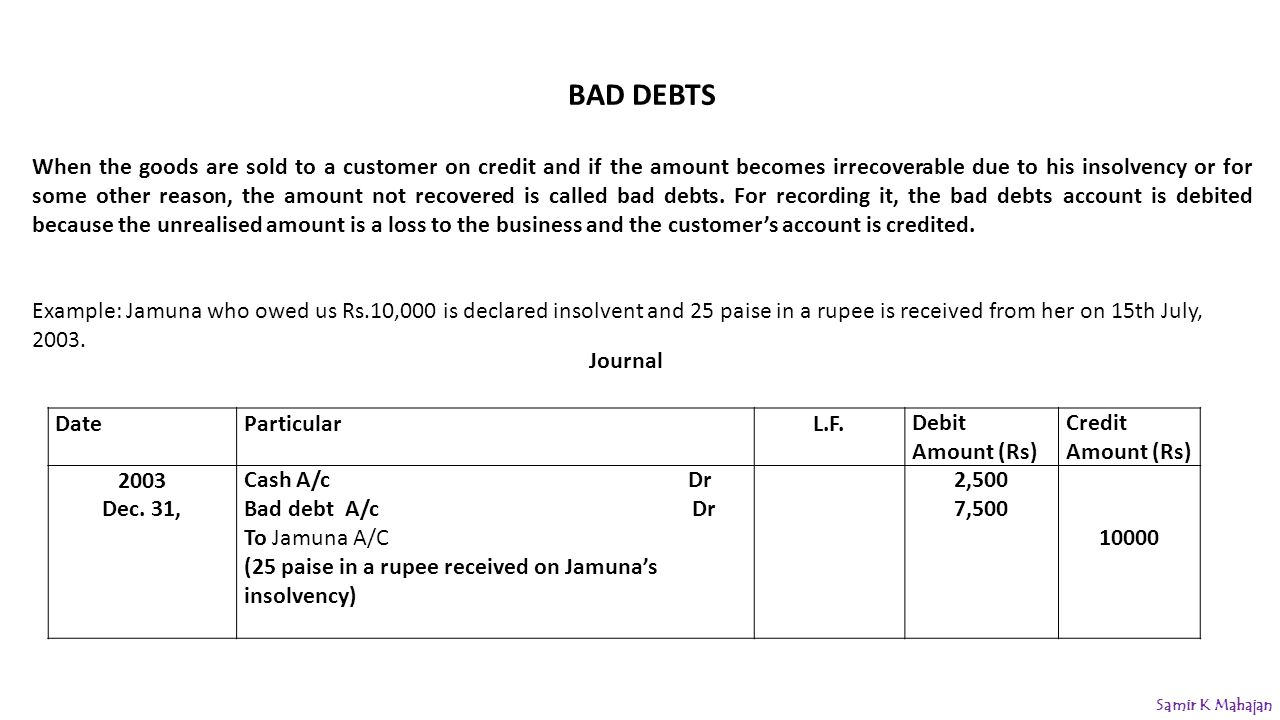 example of bad debt recovered On the contrary, bad debt is normally recognized in full general allowance past history of a business may show that a portion of receivable balances is not recovered due to unforeseen circumstances therefore, it may be prudent to create a general allowance for doubtful debts in addition to the specific allowance.