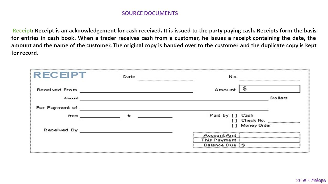 Accounting Procedure Journal ppt download – Acknowledgement of Cash Received