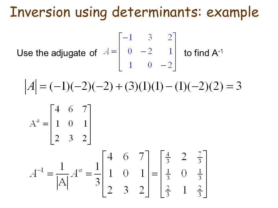 Inversion using determinants: example