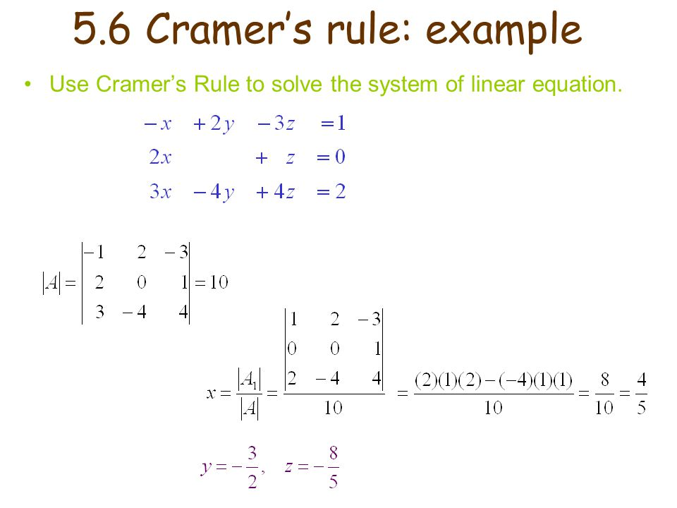 5.6 Cramer's rule: example