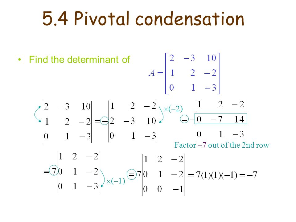 5.4 Pivotal condensation Find the determinant of (2)