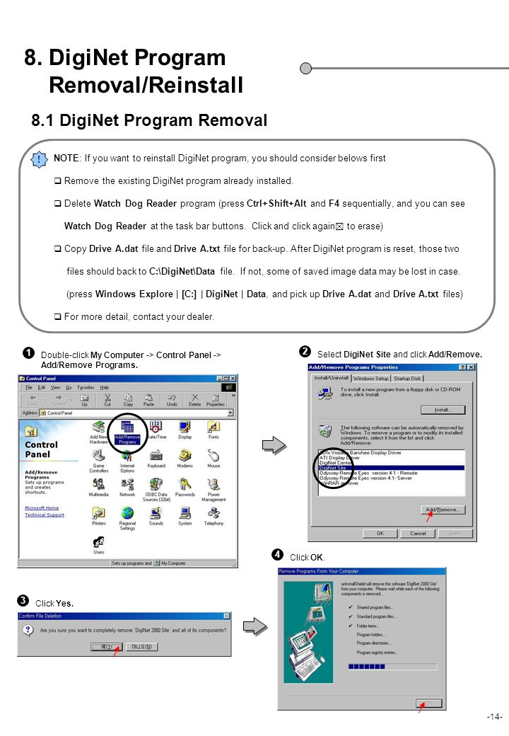 8. DigiNet Program Removal/Reinstall 8.1 DigiNet Program Removal
