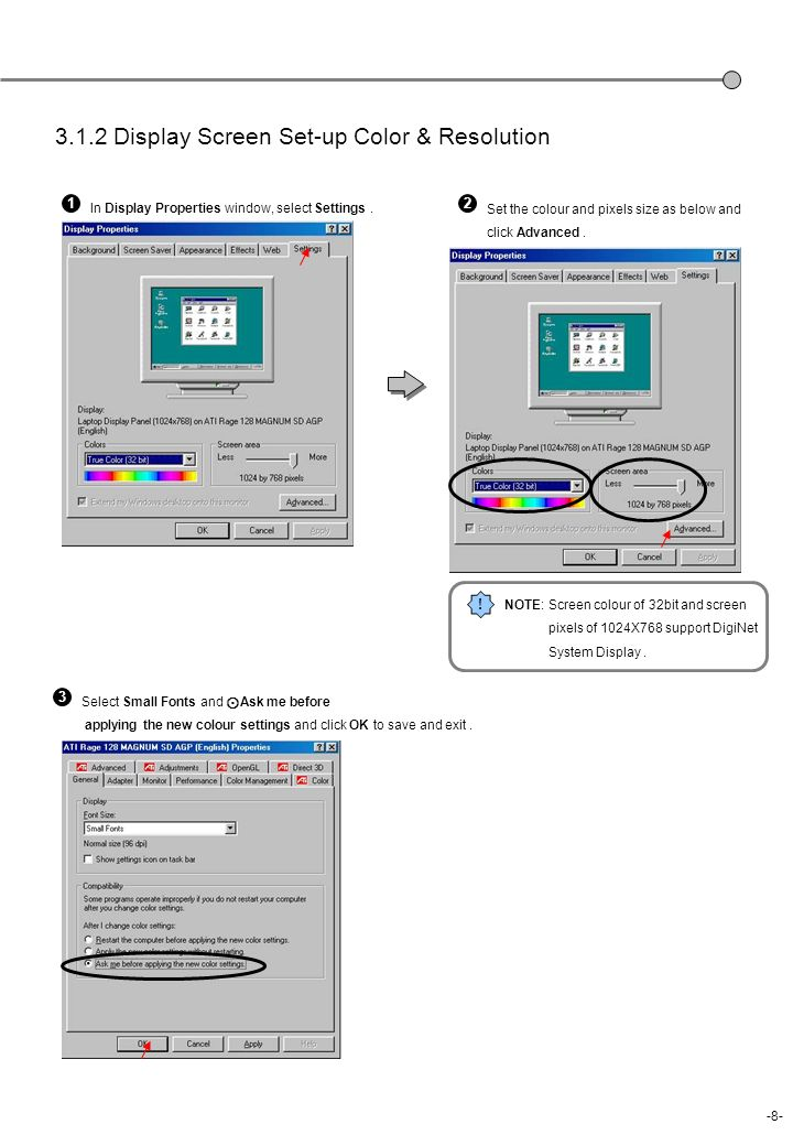 3.1.2 Display Screen Set-up Color & Resolution