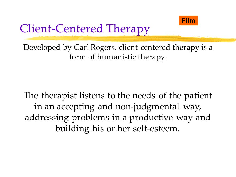 client centered therapy Overall, person-centred therapy is a non-directive, optimistic therapy that focuses on the client's ability to make changes in his or her life and that clients strive for self-actualisation.