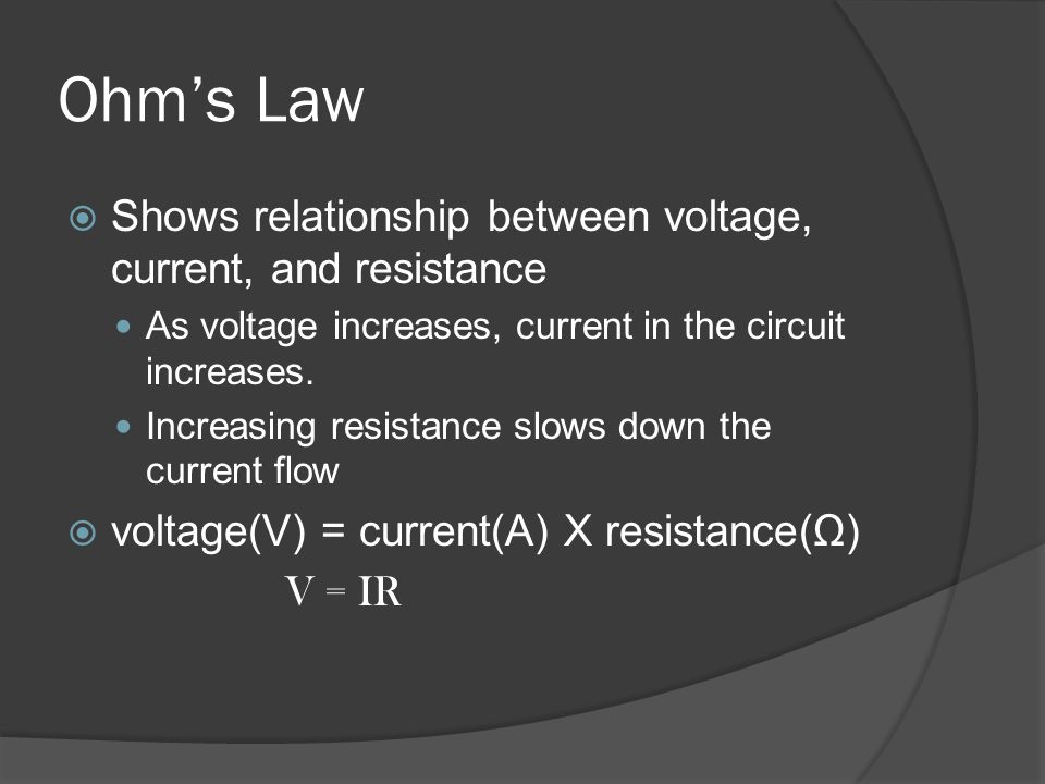 Ohm's Law Shows relationship between voltage, current, and resistance