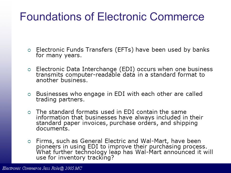 Foundations of Electronic Commerce