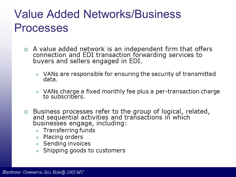 Value Added Networks/Business Processes