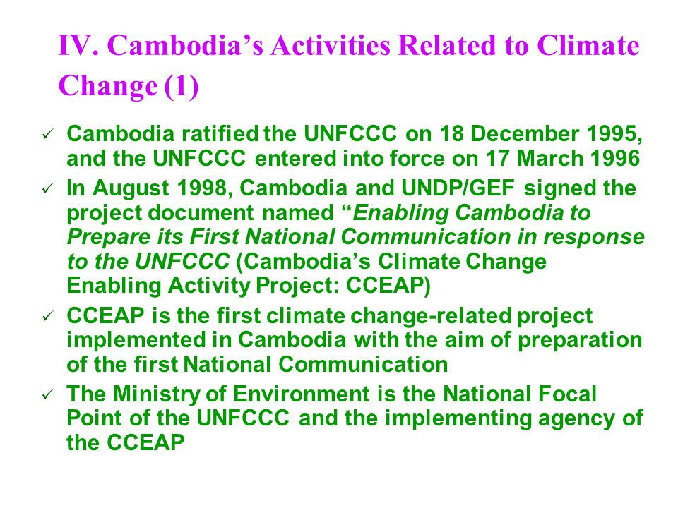 IV. Cambodia's Activities Related to Climate Change (1)