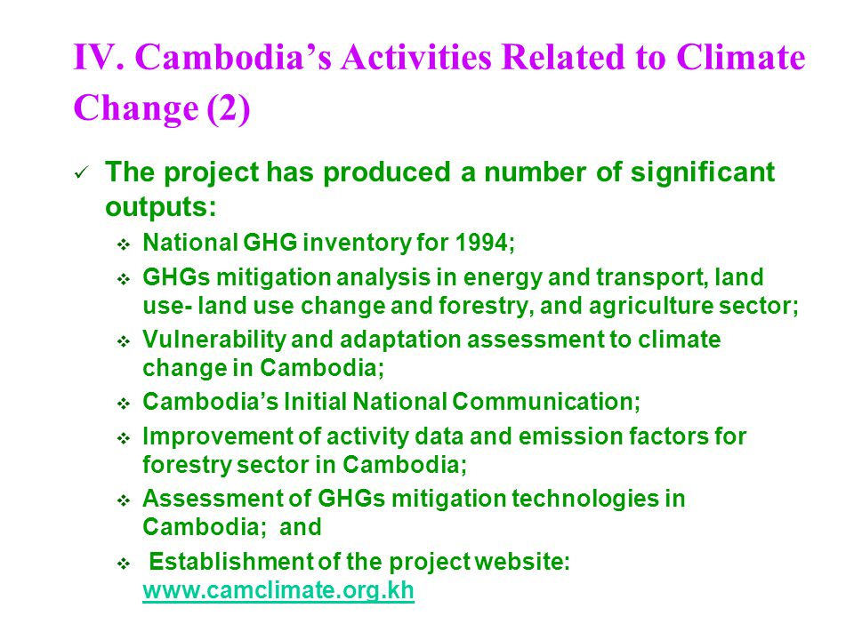 IV. Cambodia's Activities Related to Climate Change (2)