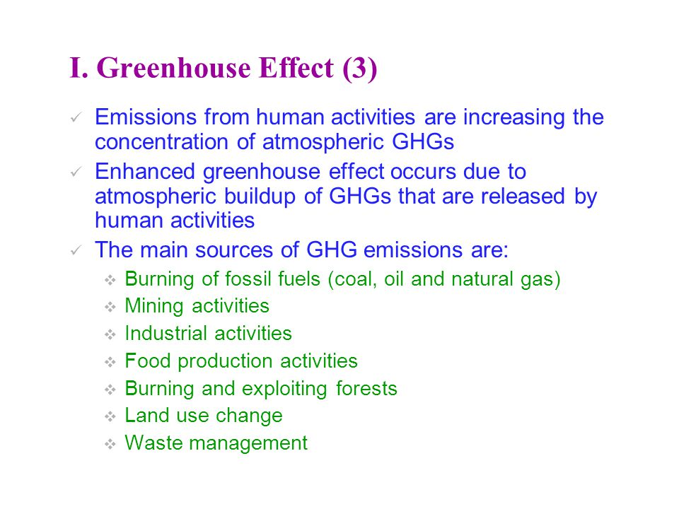 I. Greenhouse Effect (3) Emissions from human activities are increasing the concentration of atmospheric GHGs.