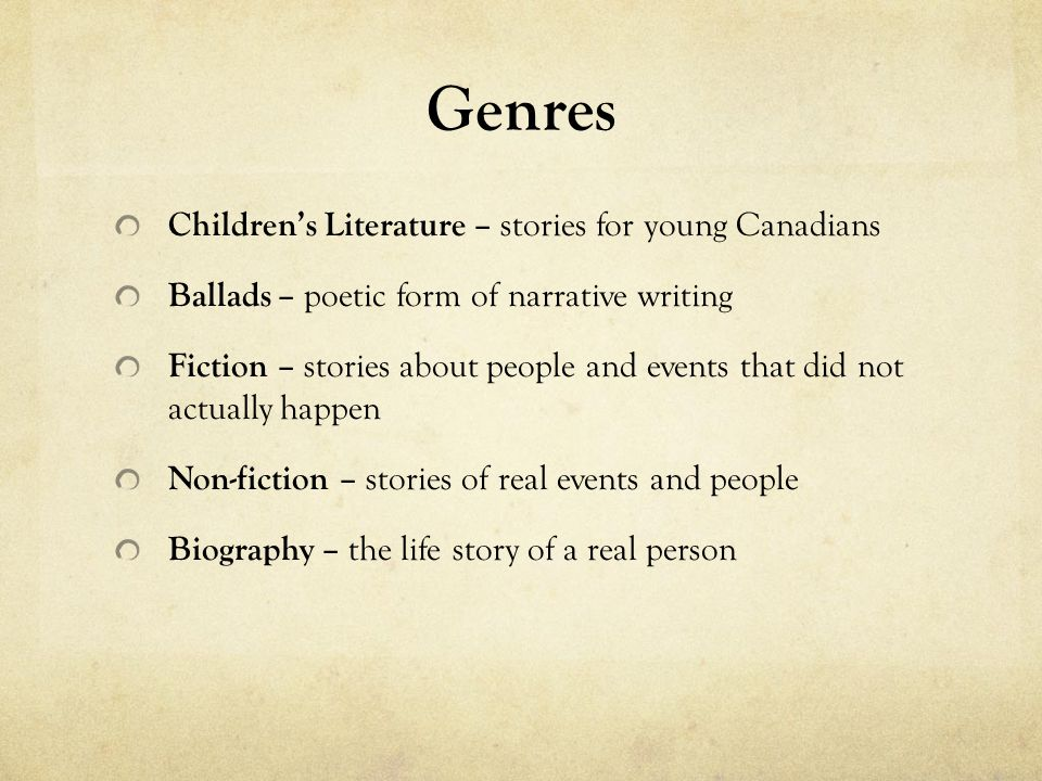 genres in children literature Recommended literature list literary genres a list of the types of books included in the list and may be used as search criteria to find books of interest in the list.