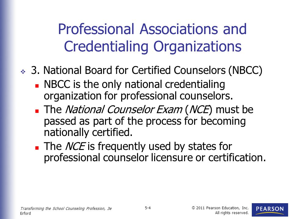 Professional organizations and credentialing examinations the
