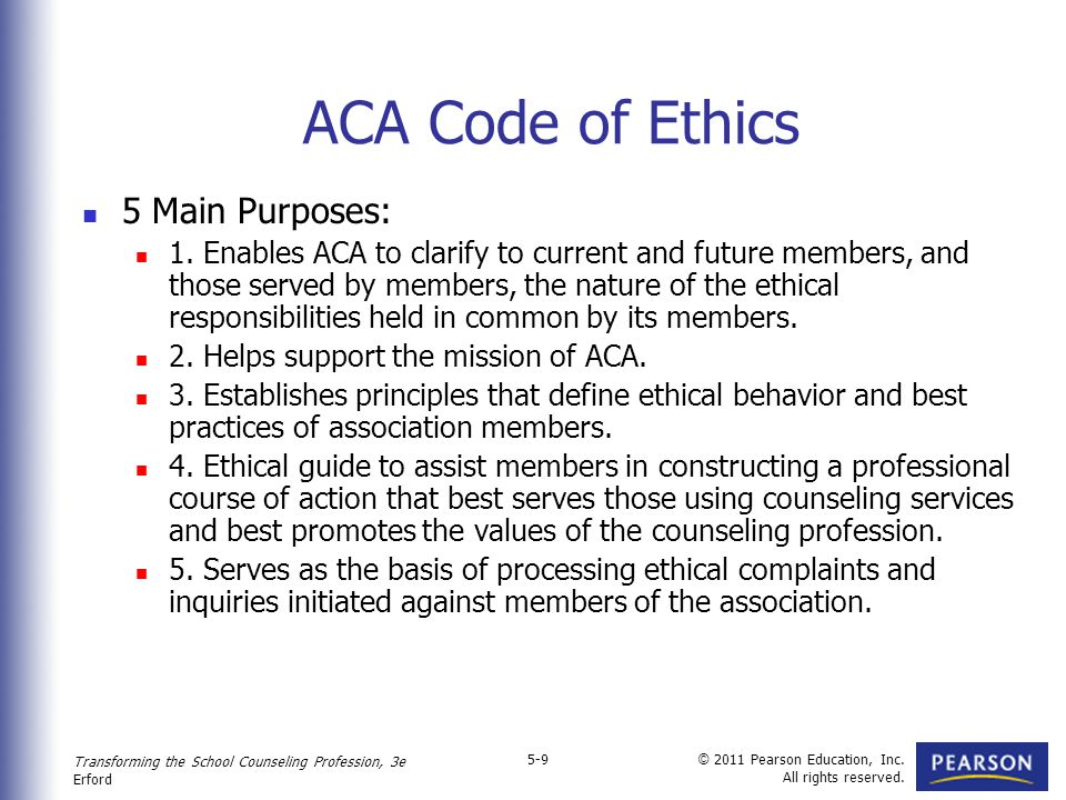 the aca codes of ethics essay More essay examples on american rubric code of ethics comparison and contrast: aacc and aca the roadmap of this paper is to make a ponderous juxtaposition of the codes of ethics stipulated and duly implemented by the american association of christian counselors[1] and the american counseling association,[2] in order to draw certain aspects of resemblances against the backdrop of their patent .