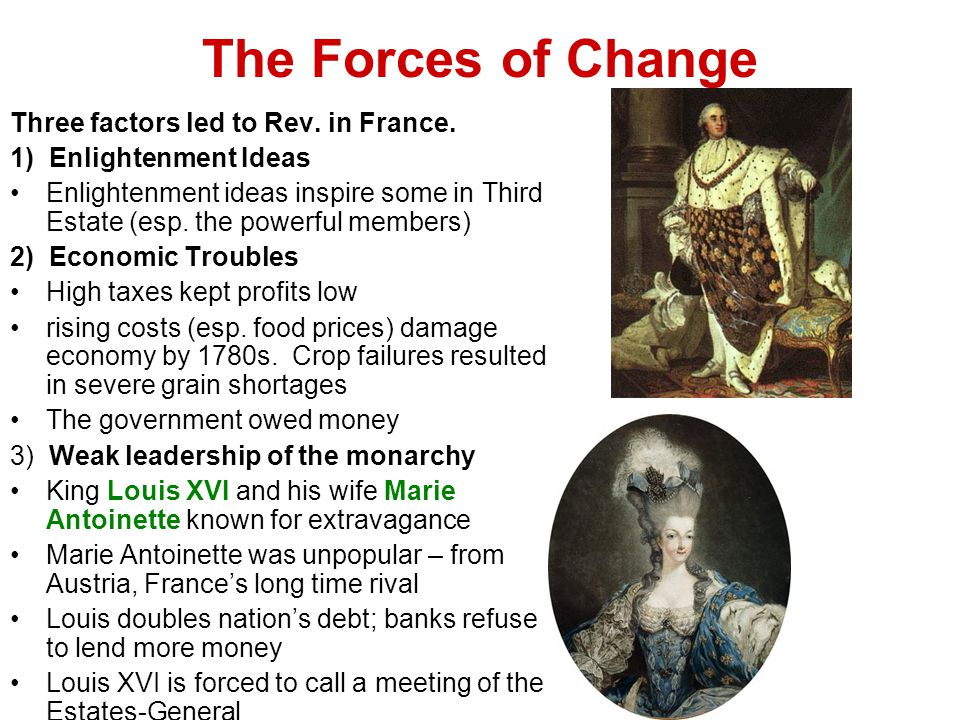 The Forces of Change Three factors led to Rev. in France.