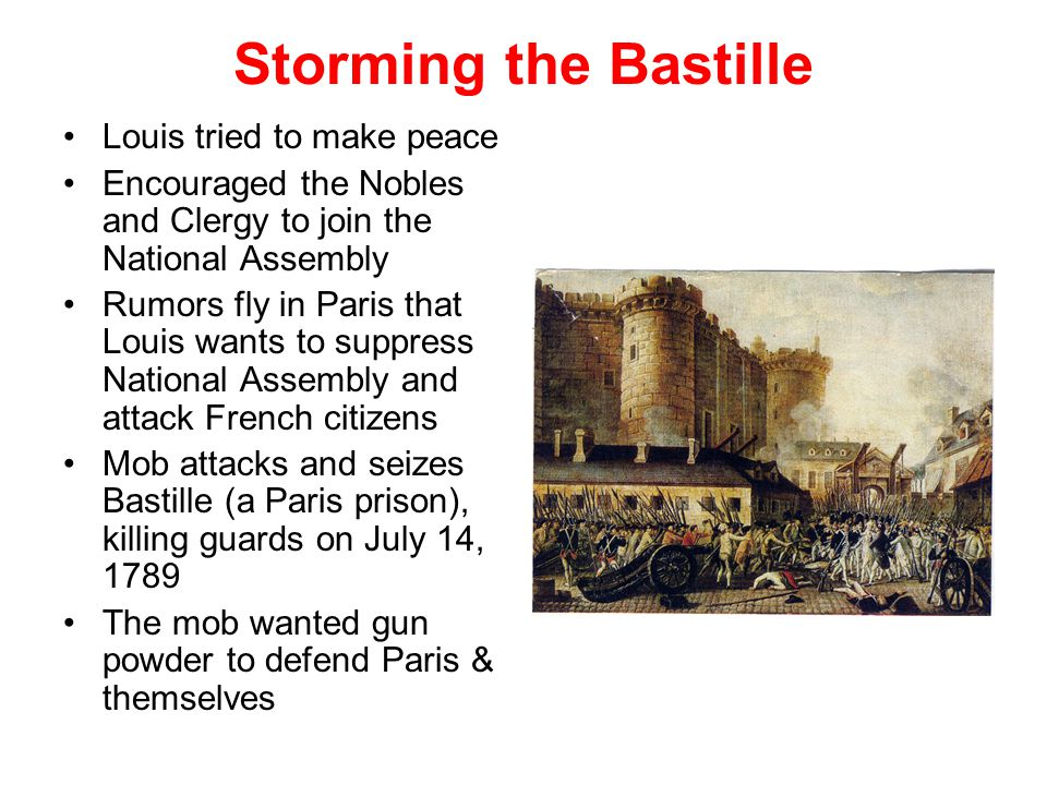Storming the Bastille Louis tried to make peace