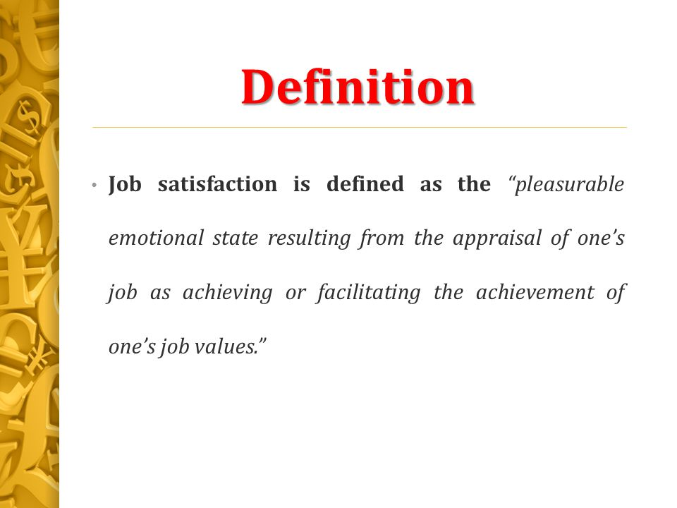 definition of job satisfaction