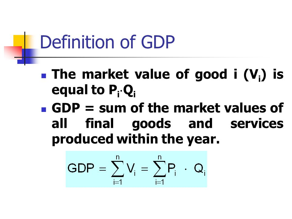 Definition of GDP The market value of good i (Vi) is equal to PiQi
