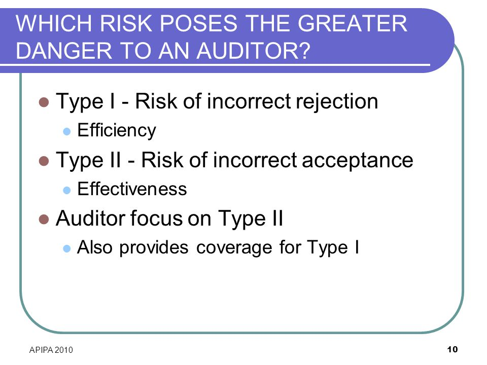 WHICH RISK POSES THE GREATER DANGER TO AN AUDITOR