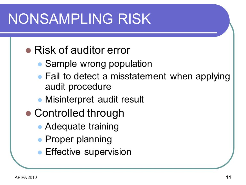 NONSAMPLING RISK Risk of auditor error Controlled through