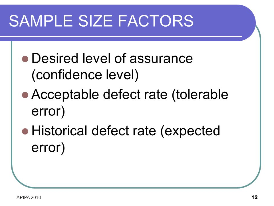 SAMPLE SIZE FACTORS Desired level of assurance (confidence level)